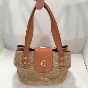 Eric Javitz Brown & Tan Weave Squishy Bag